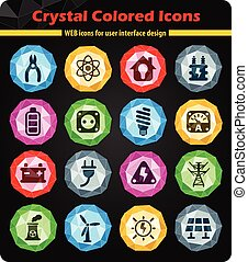 electricity icon set - electricity crystal color icons for...