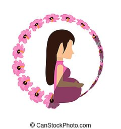 woman pregnant expectant flower shadow vector illustration...