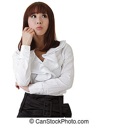 Confused business woman, oriental office lady against white