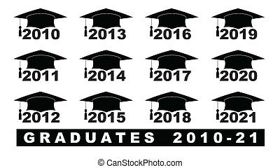 Text with graduation hat 2010-2021 set on a white...