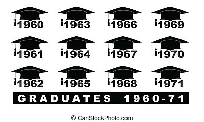 Text with graduation hat 1960-1971 set on a white...