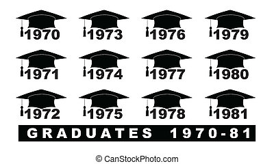 Text with graduation hat 1970-1981 set on a white...