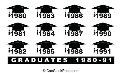 Text with graduation hat 1980-1991 set on a white...