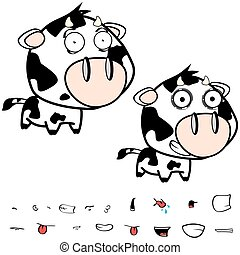 little big head cow expressions set - funny little big head...
