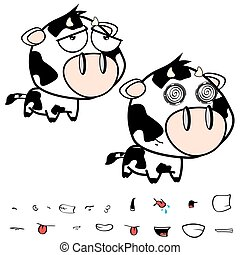 unhappy little big head cow expressions set - funny little...