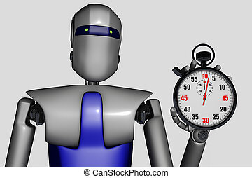 A robot with a stopwatch