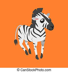 Cheerful zebra on an orange background. vector illustration