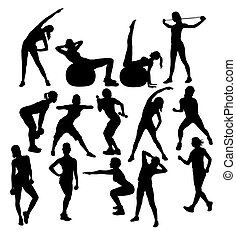 Weightlifter Silhouettes, art vector silhouettes design