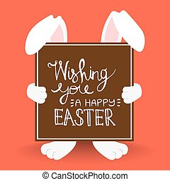 Happy Easter bunny quote for holiday card