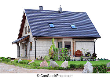 Standard rural house from a rough brick near road. Isolated...