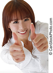 Happy business woman give double excellent gesture with...