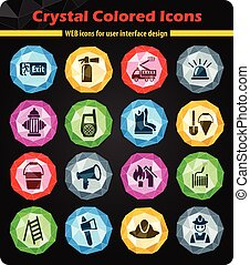 fire brigade icon set - fire brigade crystal color icons for...