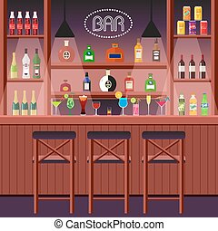 Bar, pub or night club. Bar counter with alcoholic beverages. The interior of an entertainment institution. Vector, illustration in flat style EPS10.