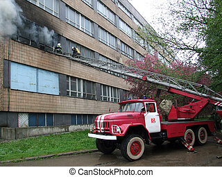 building on fire - fire truck, fire-fighting
