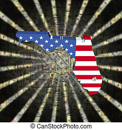 Florida map flag on currency burst illustration