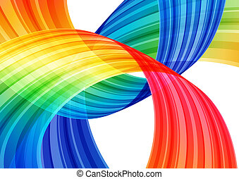 Abstract bright background, multicolored curve element on...