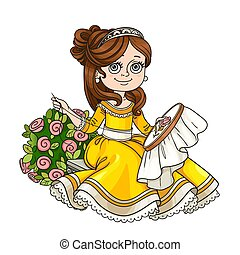Beautiful princess sitting on a bench near a bush of roses...