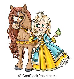 Beautiful princess with horse isolated on a white background