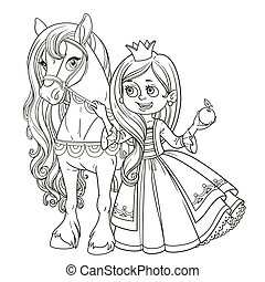 Beautiful princess with horse outlined picture for coloring book on white background
