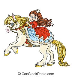 Cute princess riding on horse that bucks front hooves color...