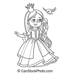 Cute princess with long hair holds on finger little bird...
