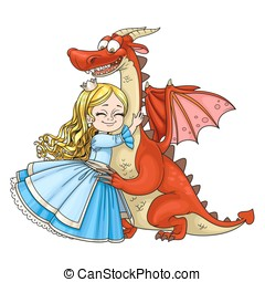 Little princess hugs dragon isolated on white background