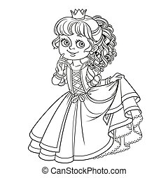 Lovely princess outlined picture for coloring book on white background