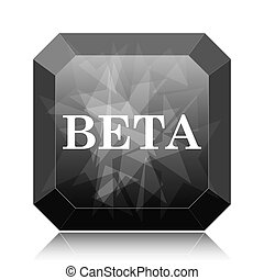 Beta icon, black website button on white background.