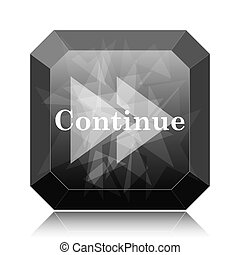 Continue icon, black website button on white background.
