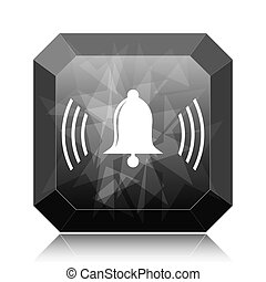 Bell icon, black website button on white background.