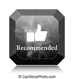 Recommended icon, black website button on white background.