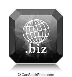 .biz icon, black website button on white background.