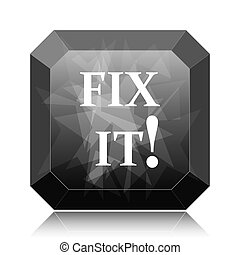 Fix it icon, black website button on white background.