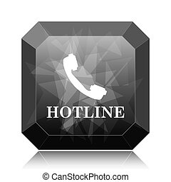 Hotline icon, black website button on white background.