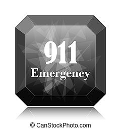 911 Emergency icon, black website button on white...