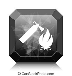 Fire icon, black website button on white background.