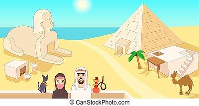 Egypt horizontal banner, cartoon style - Egypt horizontal...