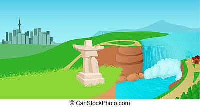 Canada landscape horizontal banner, cartoon style