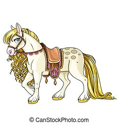 Cute white horse with golden mane harnessed to a saddle isolated on a white background