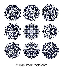 Set of mandalas. Indian wedding meditation. Buddhist...