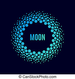 Vector poster Luna. Halftone dots circle with a gradient....
