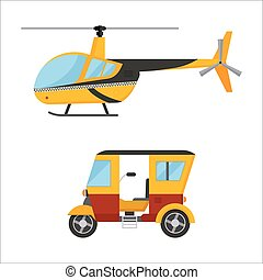 Yellow taxi helicopter bus vector illustration air transport...