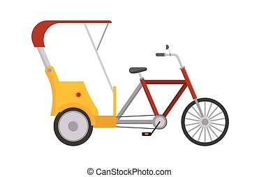 Rickshaw bike vector isolated taxi yellow tourism...