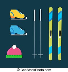 Skiing winter season equipment vector illustration sport...