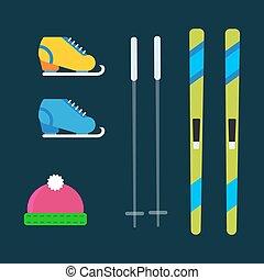 Skiing winter season equipment vector illustration sport...