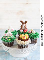 Ester cup cakes - Served Easter cup cakes,selective focus