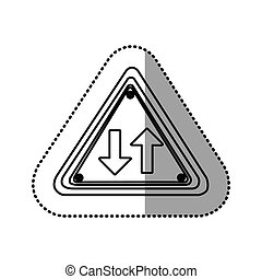 sticker silhouette triangle shape frame two way traffic sign