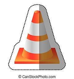 sticker realistic striped traffic cone flat icon