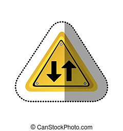sticker yellow triangle shape frame two way traffic sign