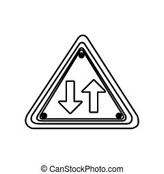 silhouette triangle shape frame two way traffic sign